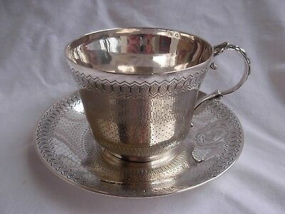 ANTIQUE FRENCH STERLING SILVER CHOCOLAT OR TEA CUP & SAUCER,MIDDLE 19th CENTURY.