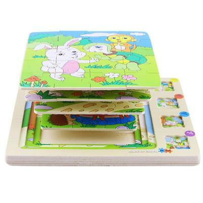 Baby Toddler Wooden Puzzle Toy Animals Stories Jigsaw Toys FI