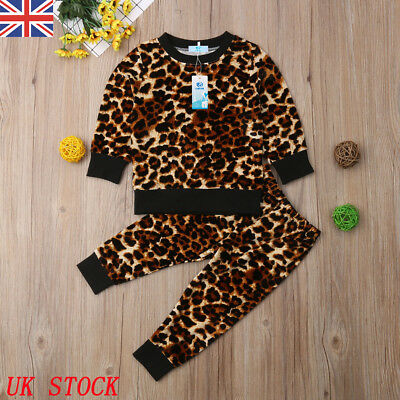 Toddler Baby Girls Leopard print Clothes Tops T-shirt+Trousers Pants Outfits UK