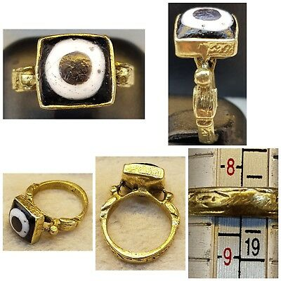 # 5C   Gold Gulding Ring Evil Eyes Protection Gabree Ancient Very Old Ring