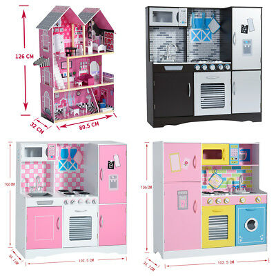 Large 3 Storey Wooden Dolls House with Funiture Accessories Playhouse Toys Kid