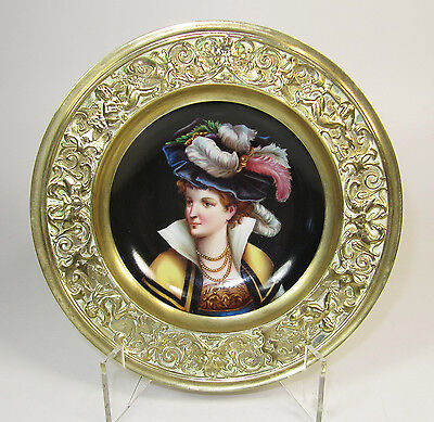 """Antique Hand-Painted German Portrait Plate with Intricate Brass Frame - 7.25"""""""