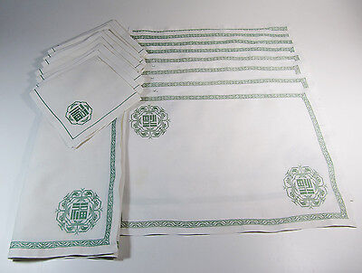 17 Piece Hand-Embroidered Vintage Chinese Linen Placemats, Napkins and Runner