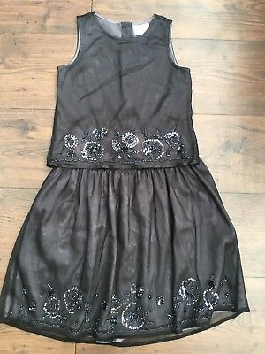 Next Girls Christmas Party Black Sequin Beaded Layered Top & Skirt Age 7