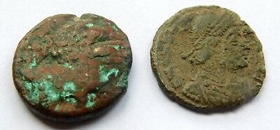 12.  Lot of two ancient coins , Greek and Roman