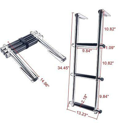 3 Step Stainless Steel Telescoping Extension Boat Ladder Wide  Swim Steps US