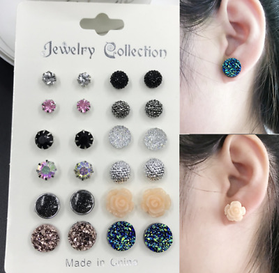 Fashion Rhinestone Crystal  Earrings Set Women Ear Stud Jewelry 12 Pairs