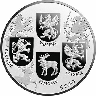 Latvia Lettland, Coats of Arms, 5 Euro 2018 Silber, Wappen Münze