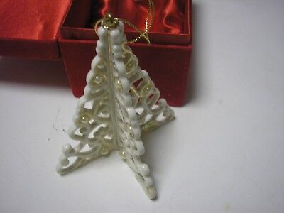 NEW Porcelain Pierced CHRISTMAS TREE ORNAMENT Gold & Pearl Trim Madison & Max
