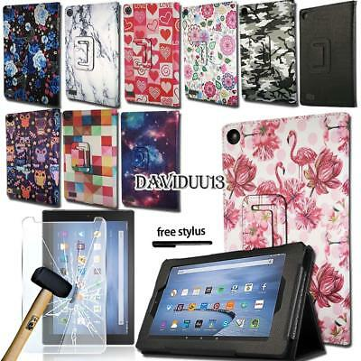 """Leather Stand Cover Case With Tempered Glass Screen Protector For Amazon Fire 7"""""""