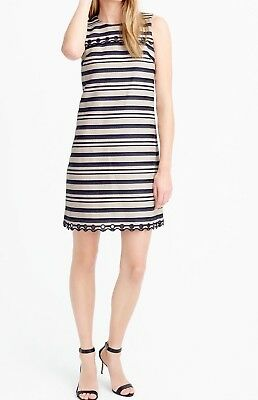 67b91cb8d69 NWT  138 J.CREW striped scalloped dress with grommets navy+ivory ...