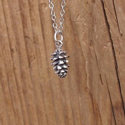 4c48ea21b92b3 STERLING SILVER MOUNTAIN Pine Tree Charm Forest Necklace Camping ...