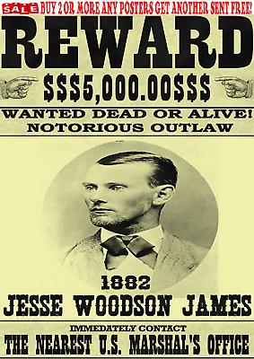 Old West Wanted Poster Jesse James Outlaw Western Bank Robber
