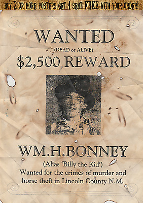 Old West Wanted Poster Outlaw Billy The Kid Garrett Western Reward