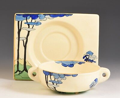 Clarice Cliff UNUSUAL BLUE FIRS CONSOMME DISH AND UNDERPLATE C.1934