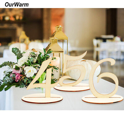 1-20 Wooden Table Numbers Set with Base Holder Birthday Party Wedding Table Deco