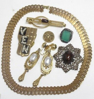 Vintage to Antique Jewelry Lot Sterling Ring Glass Stone Brooch Book Chain +