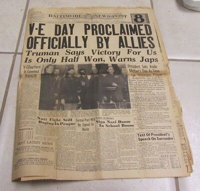 May 8 1945 Baltimore News Post V-E Day Proclaimed WWII Ends in Europe Photos