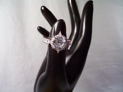 Sterling Silver Large CZ Solitaire & Marquise Engagement Ring sz. 6.75 Statement