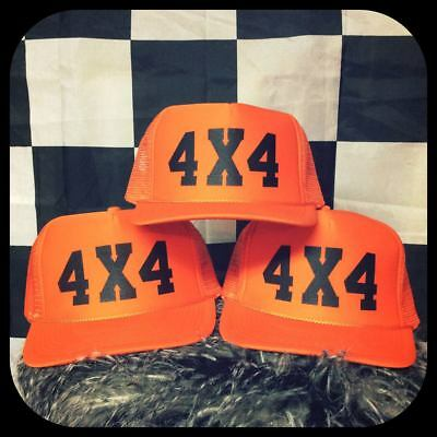 4x4 Orange adjustable trucker hat off roading truck mudding jeep tacoma ranger