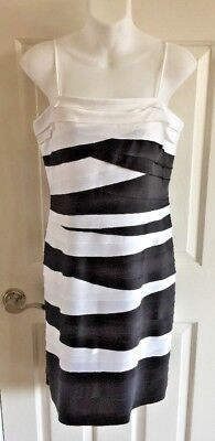 920be6e97c0 JS Collections Women s Dress - Black White Layered Stripe Cocktail - Size 8