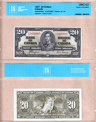 BC25c 1937 $20 Bank of Canada KGVI Coyne/Towers K/E Prefix, CCCS STRICT CH UNC63