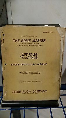 THE ROME MASTER MR 10-28 TMR 10-28 Repair parts list