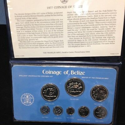 1977 Coinage of Belize Brilliant Uncirculated 8 Coin Specimen Set