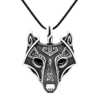 Paw Paw House Mens Wolf Head Necklace Pendant for Dog Lover Men Norse Viking