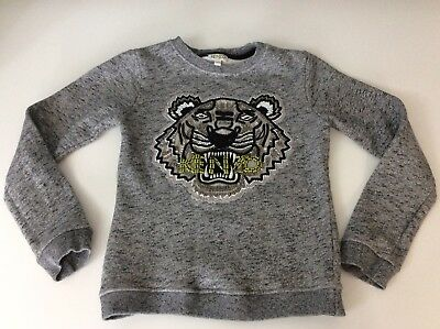 Kenzo Girls Jumper, Size Age 10 Years, 140 Cm, Grey, Tiger Face, Vgc
