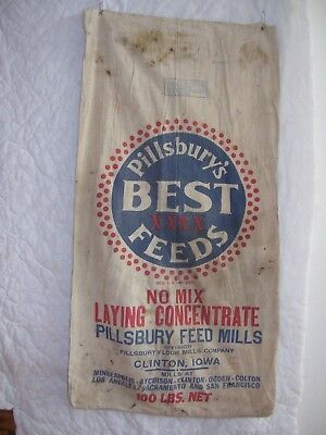 Vintage Pillsbury's Best Laying Concentrate Bag Clinton Iowa