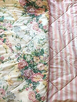 Laura Ashley Full/Double Comforter Country Roses Pink White Floral Stripes 80x80