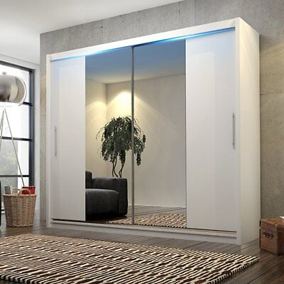 New Double Mirror White Sliding Door Wardrobe Led Light  - Many Sizes - White
