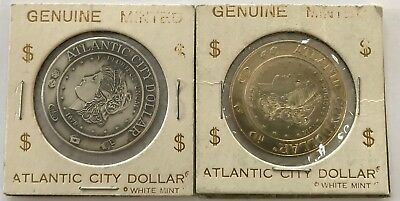 "2 ""Atlantic City Dollars"" in Brass and Pewter"