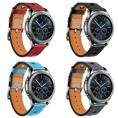 Faux Leather Watch Strap Band Metal Buckle Replacement For Samsung Gear S3 22mm