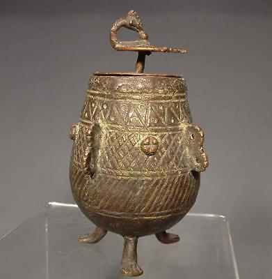 Antique Tribal Indian Dhora Bronze Cosmetic Jar 19th Century India Bengal