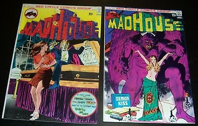 "Lot/2 FNVF: MADHOUSE 95, 96  Red Circle, Vampire, ""Demon Kiss""1974 Bag&Board"
