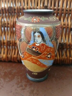 VINtAGE Antique Japanese Moriage Satsuma Gold Gilt Vase Raised paint