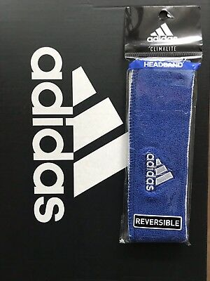 6d89e9ad5fef ADIDAS INTERVAL REVERSIBLE Headband Blue White White Blue One Size ...