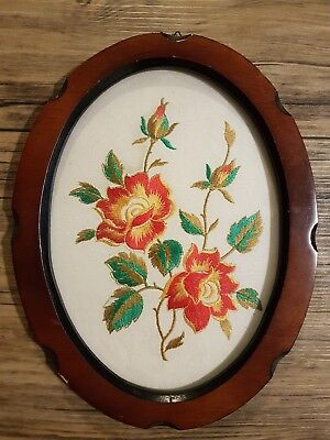 Vintage Framed Silk Embroidery Cross Stitch Hand Sewn Roses Deco Wall Art 40's