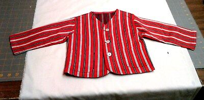 Vintage Boys Striped Suit Jacket Hand Made Bright Red White and Blue