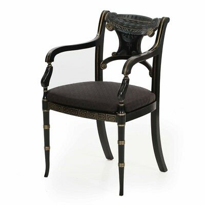 Regency Style Black Paint Decorated Ebonized Arm Dining Chair, 20th Century