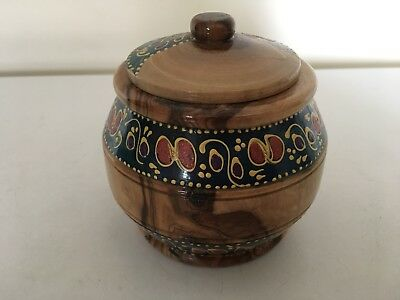 Nice Decorative Wooden Patterened Lidded Pot
