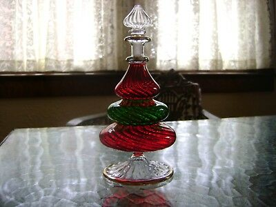 Red Green Clear Glass Christmas Tree Perfume Bottle with Stopper and Gold Trim