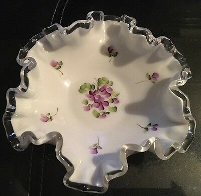 Vtg Fenton Hand Painted Ruffled Glass Candy/Trinket Dish w/ Violet Pattern