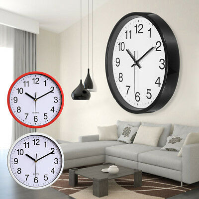 Non Ticking Wall Clock 10 Round Silent Quartz Battery Operated Home Decor DIY