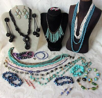 Vintage Seed Bead Jewelry Lot Flapper Necklaces Earrings Turquoise Stone Loft