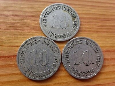 Lot 3 Coins Germany Empire - Deutsches Reich 10 Pfennig 1876-1907 Copper-Nickel.