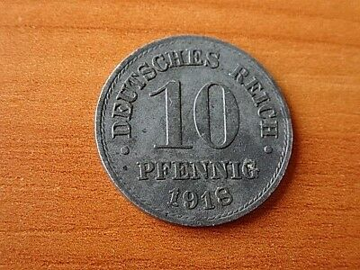Germany Empire - Deutsches Reich 10 Pfennig 1918 Zinc German Coin Very Rare