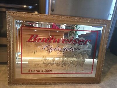 Budweiser clydesdales gold frame beer mirror sign